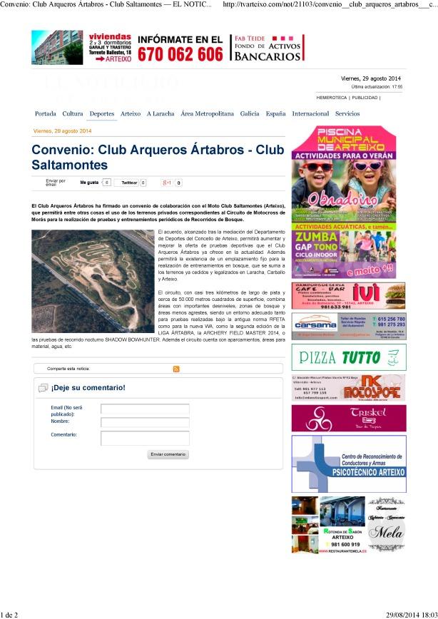 Convenio_ Club Arqueros Ártabros - Club Saltamontes — EL NOTICIERO DE ARTEIXO